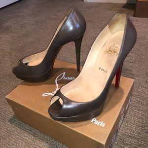 Christian Louboutin Taupe Grey Peeptoe Heels